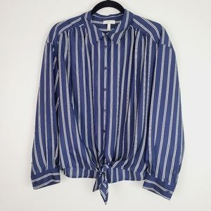 Joie Blue Adiba Tie-Front Striped Silk Shirt